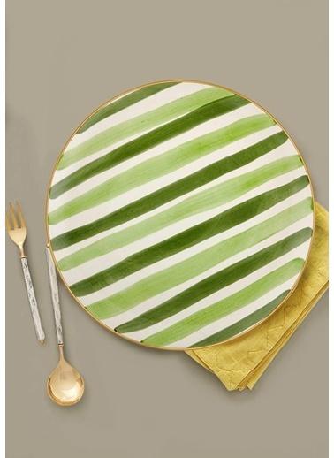 The Mia Fez Servis Tabağı  - 30cm Yeşil Yeşil